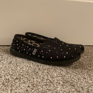 BOBS by Skechers. Black with rhinestones. Size 8